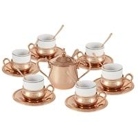 Кофейный набор из костяного фарфора с отделкой под розовое золото на 6 персон «Экстра-люкс»