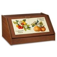 Деревянная хлебница с керамическими вставками «Итальянские фрукты»