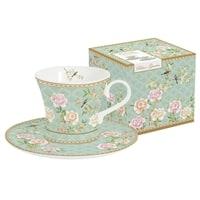 Набор для кофе из костяного фарфора: 2 чашки и 2 блюдца «Дворцовый парк» (салатовый) в подарочной упаковке