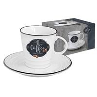 Чашка с блюдцем из фарфора «Кухня в стиле Ретро» (кофе) в подарочной упаковке