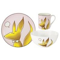 Набор из костяного фарфора «Лисёнок»: кружка, тарелка и миска