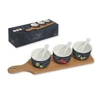 Набор для закуски из фарфора: 3 чаши с ложками и поднос