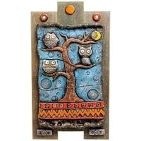 Панно «Совы на дереве» шамот KK-530