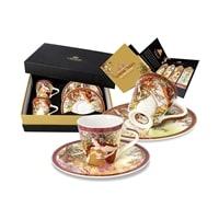 Набор для кофе из костяного фарфора 2 чашки и 2 блюдца «Весна, Осень» (Альфонс Муха)