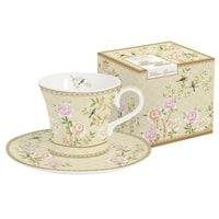 Набор для кофе из костяного фарфора 2 чашки и 2 блюдца «Дворцовый парк» (бежевый) в подарочной упаковке