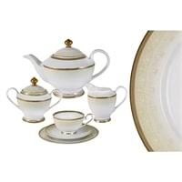 Чайный сервиз из фарфора на 6 персон «Вуаль кремовая»