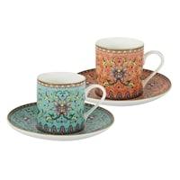 Набор для кофе из костяного фарфора: 2 чашки и 2 блюдца «Восточный дворец» в подарочной упаковке