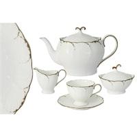 Чайный сервиз из костяного фарфора на 6 персон «Белый с золотом»