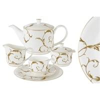Чайный сервиз из костяного фарфора на 6 персон «Элегия Голд»
