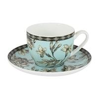 Чашка с блюдцем из костяного фарфора «Наталия» (голубая) в цветной упаковке