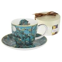 Чашка с блюдцем из костяного фарфора «Цветущий миндаль» (Ван Гог)