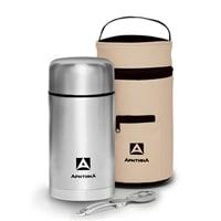 Термос для еды Арктика 1 литр с супер-широким горлом и чехлом (стальной)