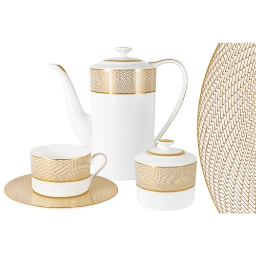 Чайный сервиз из костяного фарфора на 6 персон «Миллениум Голд»