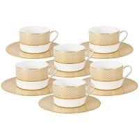 Чайный набор из костяного фарфора «Миллениум Голд» 6 чашек и 6 блюдец