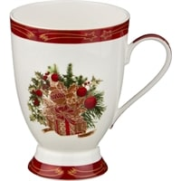 Кружка из фарфора «Новогодний подарок» с красной каймой (Сhristmas Сollection)
