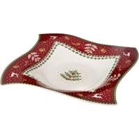Блюдо из фарфора «Новогодние узоры» с красной каймой (Christmas Collection)