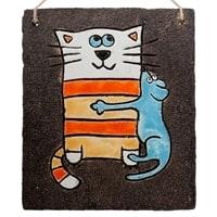 Панно «Кошка с мышкой» KK-205 (шамот)