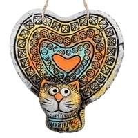 Панно «Кот сердечный» шамот KK-484