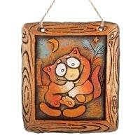 Панно «Кот с сордельками» KK-215 (шамот)