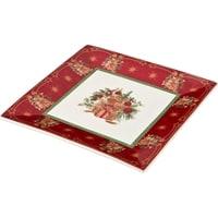 Блюдо из фарфора «Новогодний подарок» с красной каймой (Christmas Collection) M-586288