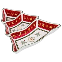 Менажница из фарфора 3-х секционная «Снежинки» с красной каймой (Christmas Collection)