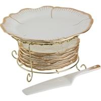 Фарфоровый набор для торта блюдо, 6 тарелок и лопатка «Цветочная симфония»