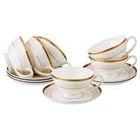Чайный набор из костяного фарфора на 6 персон «Лазурный берег»