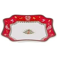Блюдо из фарфора «Новогодние узоры» с красной каймой (Christmas Collection) M-54559