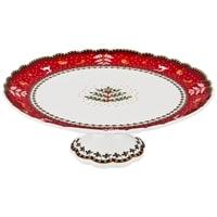 Тортовница из фарфора «Новогодние узоры» с красной каймой (Christmas Collection) M-54565