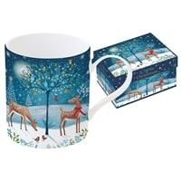 Кружка из фарфора «Новогодняя сказка - Олени» в подарочной упаковке