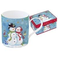 Кружка из фарфора «Новогодняя сказка - Снеговики» в подарочной упаковке.