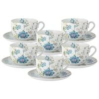 Чайный набор из фарфора 6 чашек и 6 блюдец «Лазурь» в подарочной упаковке