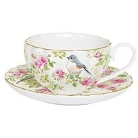 Фарфоровая чашка с блюдцем «Птицы в саду» в подарочной упаковке