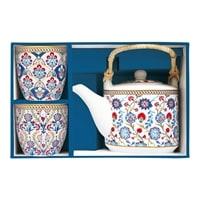 Чайный набор из фарфора: чайник с ситечком и 2 чашки «Изник» в подарочной упаковке
