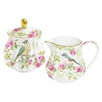 Фарфоровый набор: сахарница и молочник «Птицы в саду» в подарочной упаковке