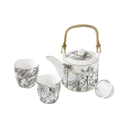 Чайный набор из фарфора: чайник с ситечком и 2 чашки «Джунгли» (ретро) в подарочной упаковке