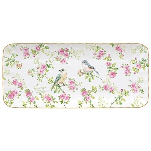 Блюдо фарфоровое прямоугольное «Птицы в саду» в подарочной упаковке