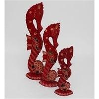 """Фигурка """"Морской конек"""" красная набор из трех 10-017 (батик, о. Ява)"""