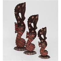 """Фигурка """"Морской конек"""" фиолетовая набор из трех 10-016 (батик, о. Ява)"""