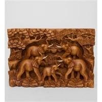 Панно резное «Пять слонов - символ мудрости» 17-003 (суар, о. Бали)