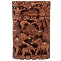 Панно резное «Пирамида из слонов - символ долголетия» 17-005 (суар, о. Бали)