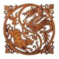 Панно резное «Тигрица и Дракон - символы Инь и Ян» 17-064 (суар, о. Бали)