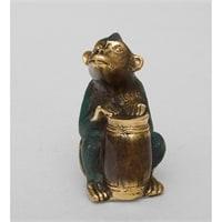 Фигура из бронзы Обезьяна «Игра на конге» 24-004 (о. Бали)