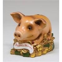 """Фигурка гипсовая """"Свинья на деньгах"""" 15862"""