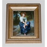 Панно Федоскино «Девушка в венке»