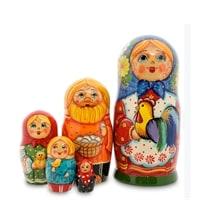 Матрешка 5-и кукольная «Анастасия с петухом» МР-24/16