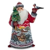Фигурка Дед Мороз с птичкой (Резной) 22см.