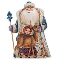 Фигурка Дед Мороз с оленем (Резной) 26см.