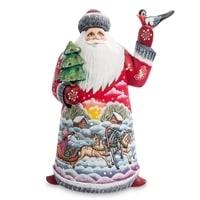 Фигурка Дед Мороз с птичкой (Резной)