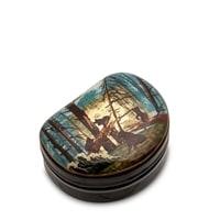Шкатулка Федоскино «Утро в сосновом лесу» (сусальное золото)